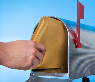 Putting envelope into mailbox